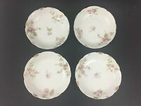 Antique Theodore Haviland Limoges Flowers Pink Gold Cake Snack Plate dish SET 4