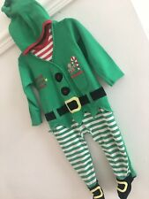 Baby Boy Elf Christmas Helper Age 9-12 Months Fancy Dress Up Santas Outfit & Hat