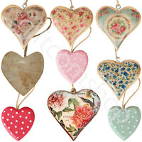 Sass and Belle Wooden Hanging Hearts Shabby Chic Vintage Home Decoration