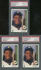 Lot of (3) 1989 Upper Deck Star Rookie #1 Ken Griffey Jr. Mariners RC PSA 8