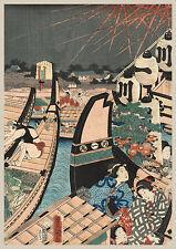 Japanese Art Print: Beneath the Fireworks on the Ryokoku Bridge: Fine Art Print