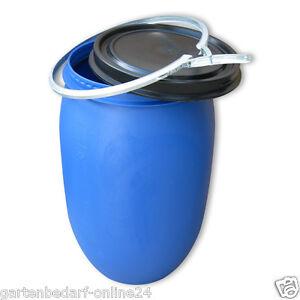 120 Liter blau gebraucht Kunststofffass Plastiktonne Plastefass Deckelfass Box.