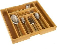 Bamboo Wood Cutlery Tray Organiser 6-8 Compartment Utensil Holder Expandable NEW