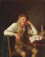 C. Schroeter 1795-1835 Antique Huile Fine Peinture de genre portrait GENT homme politique