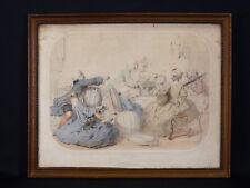 Ancienne gravure encadrée Plaisir des Villes dans l'esprit du XVIIIème