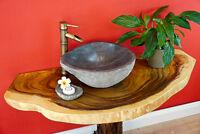 Waschbecken Platte 117 cm Waschtisch massiv Holz Holzplatte Baumscheibe Suar