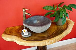 Waschtisch Platte ab 100 cm Massivholz Holz Waschbecken Holzplatte Baumscheibe