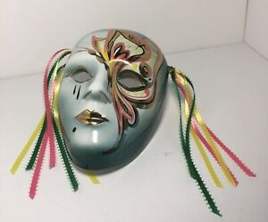 """Handpainted Ceramic Mask 8"""" With Multicolor Ribbons Signed Gold Accents Deco"""