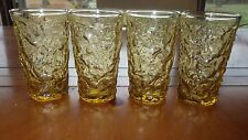 Anchor Hocking Lido Soreno Amber Juice Glasses 4 6 ounce flat bottom bumpy glass