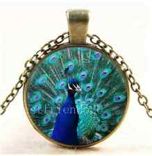 Vintage Beautiful peacock Photo Cabochon Glass Bronze Chain Pendant Necklace
