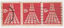 (UST-261) 1968 USA 10c red fifty stars 3strip air mail (Q)