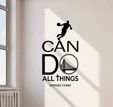 Stephen Curry Wall Decal I Can Do All Things Vinyl Sticker Basketball Quote 656