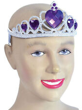 Tiara Silver Plastic With Purple Stones Princess Fancy Dress Girls Womens Crown