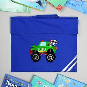Personalised Monster Truck Blue Book Bag Back To school Boys