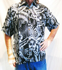 LOUD HAWAIIAN SHIRT black/ blue or yellow Hibiscus flowers, STAG NIGHT HOLIDAY