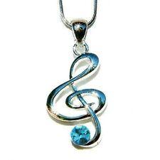 Blue w Swarovski Crystal TREBLE G CLEF MUSIC NOTE Musical Charm Pendant Necklace