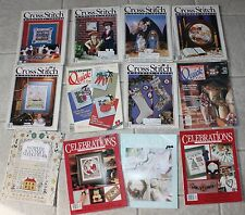 Lot of 14 Cross Stitch & Country Crafts Magazines Patterns Books 80s 90s Sewing