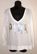NWT VICTORIA'S SECRET PINK Silver Logo Bling LONGE SLEEVE SHIRT White Top New