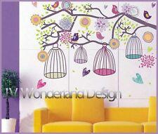 Bird Cages Flower Tree Branch Wall RemovableDecor Vinyl Sticker Decal paper AU