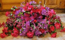 Silk Memorial Flowers Violet & Fuschia Azaleas Ground Plaque Mothers Day Grave