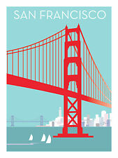 Pop Art Posters San Francisco Bay & Art Deco Golden Gate Bridge 75th Anniversary