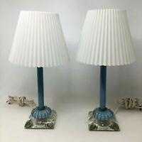 Pair of Vintage Blue Cased Glass Table Lamps Bedroom Boudoir Pretty Cute Farmhou