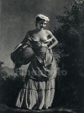 1935 Vintage WILLIAM MORTENSEN Surreal Female Nude WOMAN OF LANGUEDOC Photo Art
