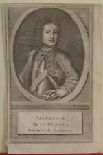 AUGUSTUS II THE STRONG POLAND 1740 THOMAS SALMON ANTIQUE COPPER ENGRAVE PORTRAIT