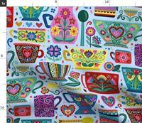 Coffee Hygge Scandinavian Folk Art Colorful Fabric Printed by Spoonflower BTY