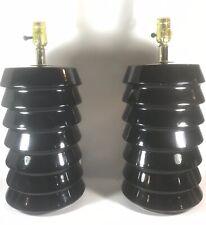 Vintage Pair 1970s 1980s CERAMIC Black Glaze CN Burman Hollywood Regency Lamps