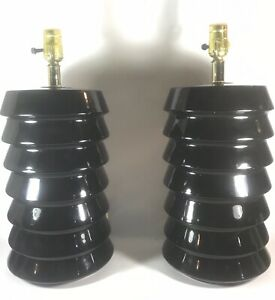 Vintage Pair 1970s 1980s CERAMIC Black Glaze CN Burman Hollywood Regency Lamps