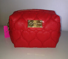NWT Betsey Johnson Be Mine Boxed cosmetic Makeup Bag Clutch Red Quilted Hearts