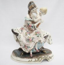 """Capodimonte Mother and Child Figurine Large 13"""" Porcelain Bisque Crazing Vintage"""