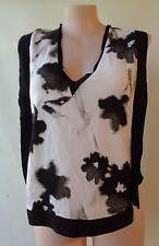 Zara print grey top size L/14 sleeveless vee neck