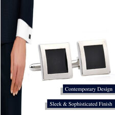 Stylish Business Suit Cuffs Silver Plated Black Sleeve Button Square Cufflinks
