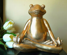 SITTING FROG IN YOGA LOTUS MEDITATION POSITION LARGE FIGURINE STATUE GIFT