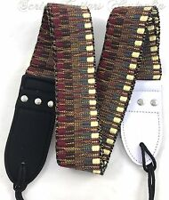 """""""Earth Tribal"""" Knitted Leather Ends  Electric, Acoustic, Bass  Guitar strap"""