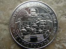 Guernsey-dos libras moneda 1944-1994 - * Normandía Día D * Churchill-Guerra-UNC