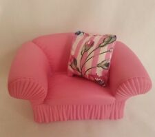 Vtg 1988 MTC Barbie Doll House Furniture Pink Rubber Arm Chair & Sofa Pillow