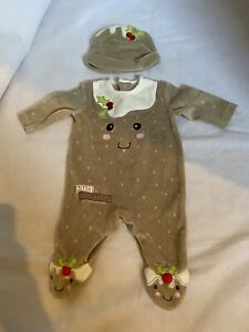 GEORGE Christmas Little Pudding Cute Slogan Babygrow Sleepsuit & Hat NEWBORN 0+