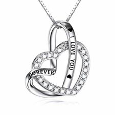 Sterling Silver Two Love Heart Infinity Zircon Pendant Necklace Engraved I Love