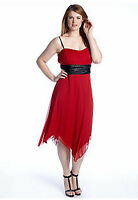 Plus Size Strapless Red Chiffon Cocktail Party Dress Bridesmaid Dance NWT  3X
