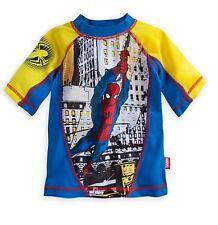 Disney Store Spiderman Super Hero Rash Guard Swim Top Shirt Boys Size 9/10 Large