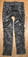 """ Linus "" Men's Leather Jeans/Lace-Up Trousers IN Black Approx. W32 "" / L34 """