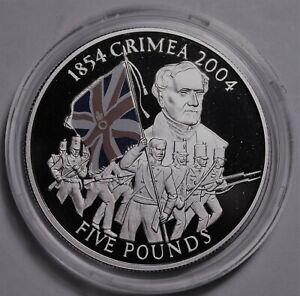 Guernsey 5 Pounds, 2004 Rare Silver Proof~Crimean War~1st Victoria Cross Winner