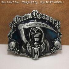 Men Grim Reaper Memento Mori Skull Belt Buckle Vintage Western Cowboy Metal