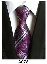 New Classic Men's Tie Necktie Purple Paisley 100% Silk JACQUARD WOVEN