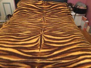 Vintage Single Bed Bedspread Animal Print Orange Brown Print Fringe Edge