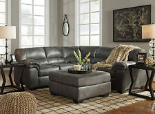 REDONDO Modern Gray Microfiber Living Room Sofa Couch Ottoman Sectional Set NEW