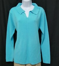 Sherry Taylor Womens Sweater Size XL Blue V-Neck SUPER SOFT Long Sleeve
